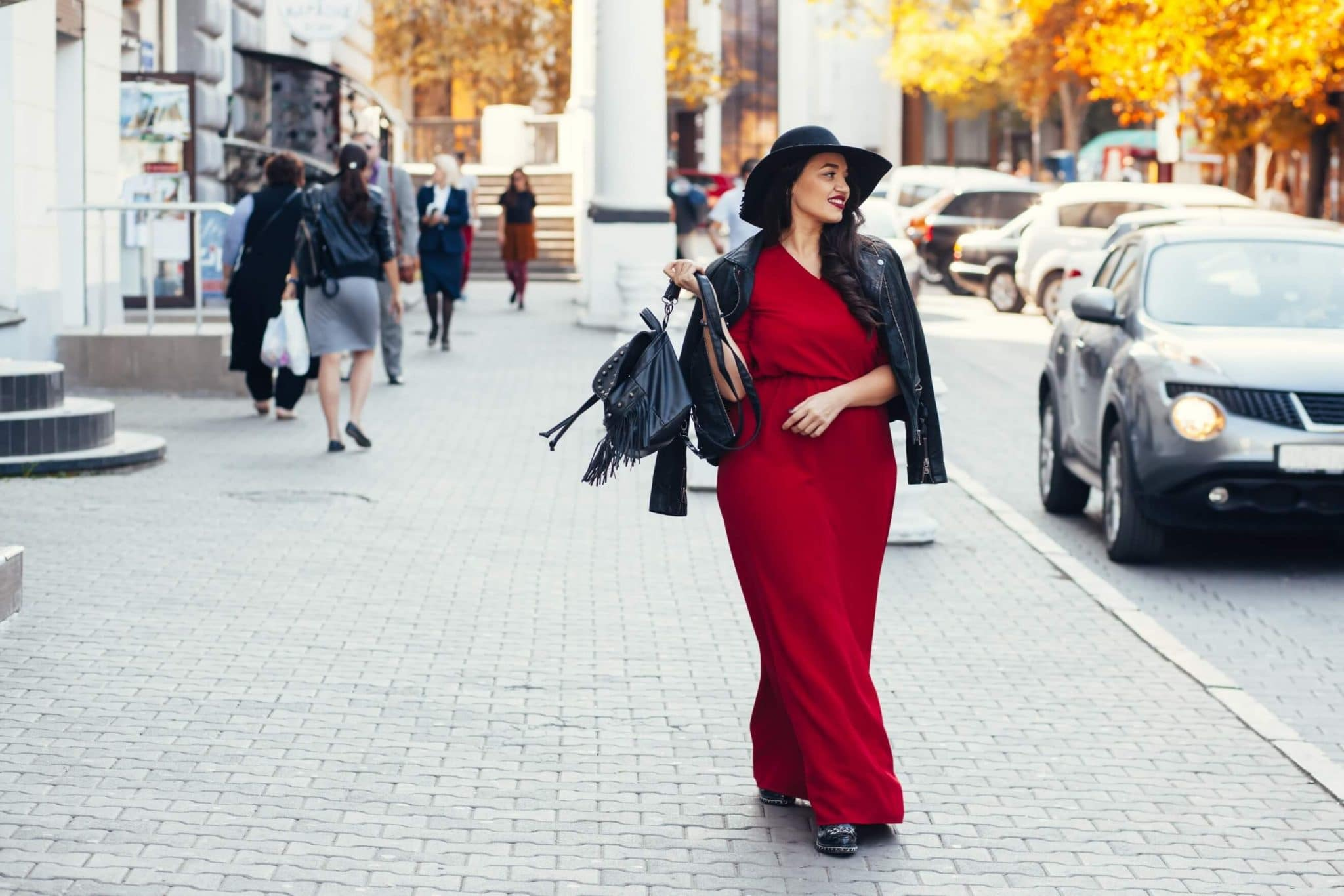 plus size woman in a red maxi dress