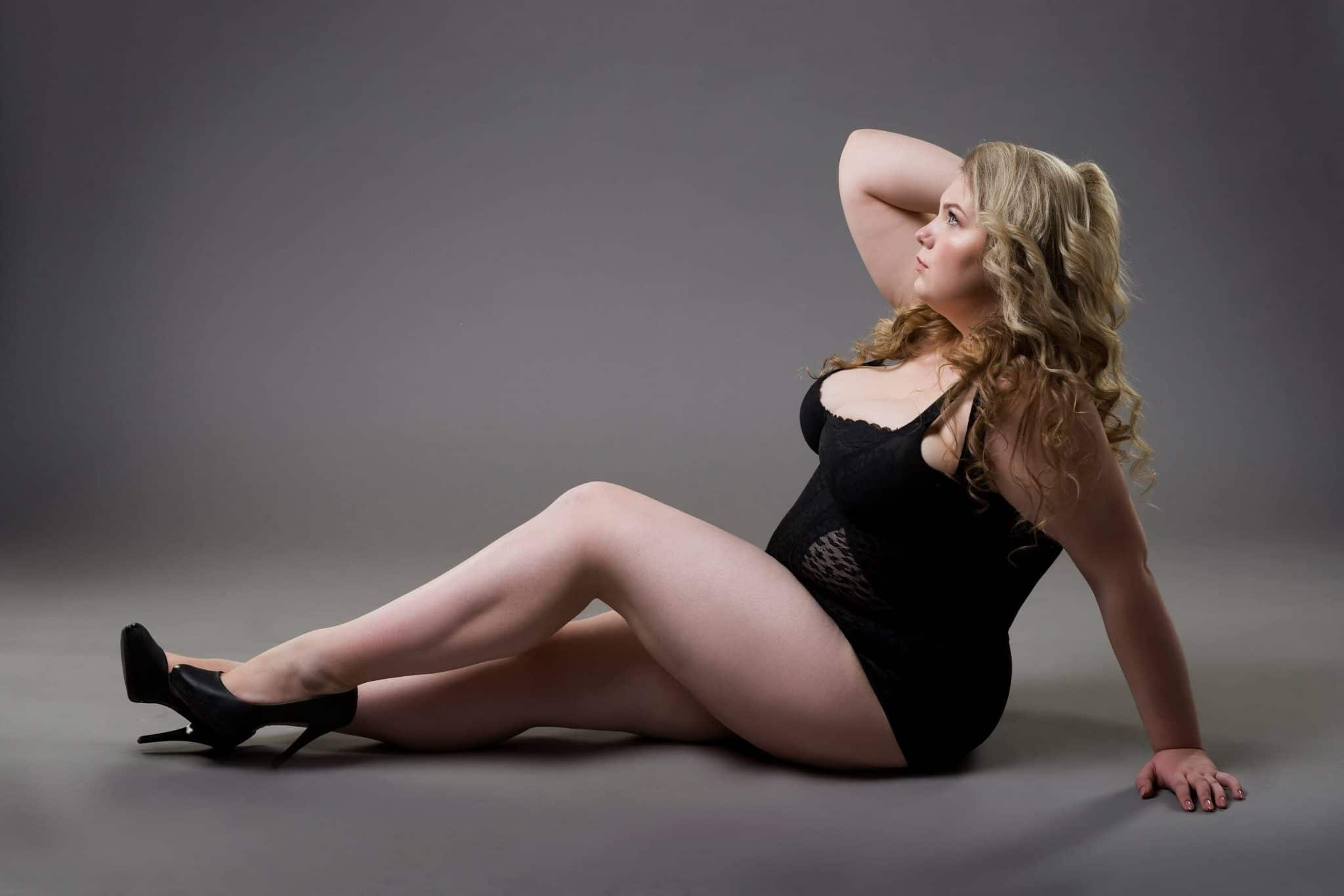 model in a plus size girdle