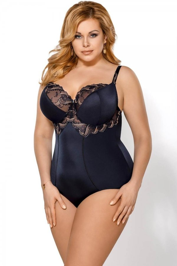 Gorsenia plus size navy bodysuit