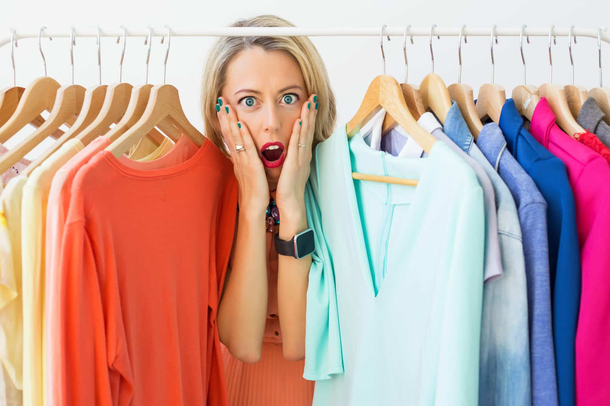 woman stressed finding plus-sized clothing in shop