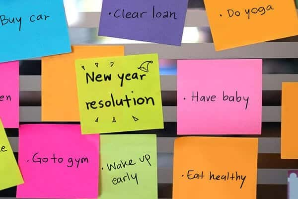 New Years Resolution post it notes