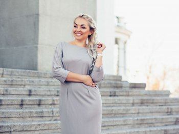 woman in grey dress